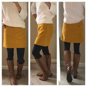 J Crew Mustard Yellow Corduroy Mini Skirt